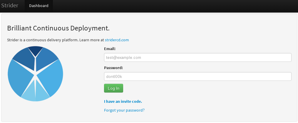 Login page to Strider