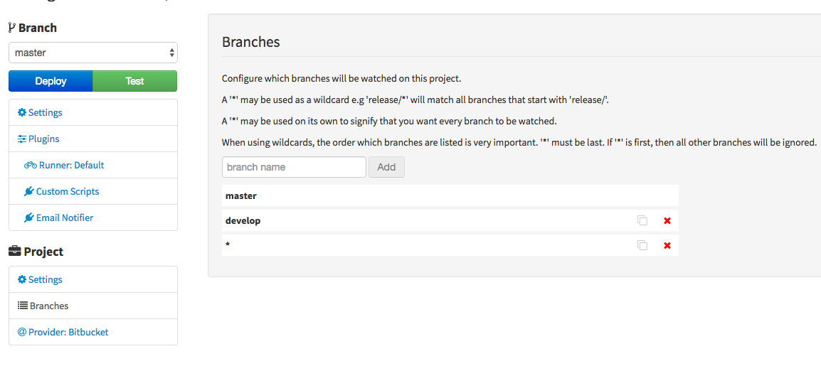 Branch management in Strider